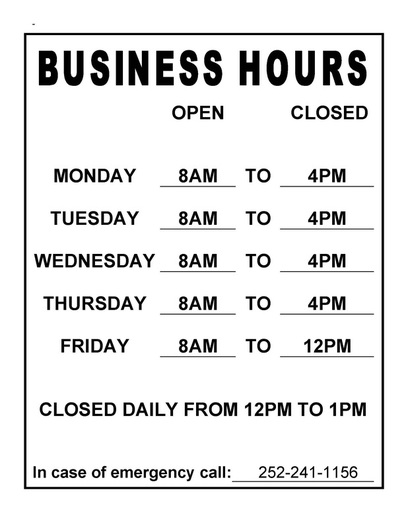 This image shows the business hours for Beaufort Housing Authority.  Hours are Monday through Thursday 8AM until 4PM and Friday from 8AM until 12PM, they are closed daily from 12PM until 1PM.  In case of emergency call 252-241-1156